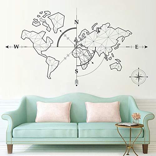 Monde aventure carte du monde aventure boussole globe bureau décoration de la maison sticker mural32X57 cm