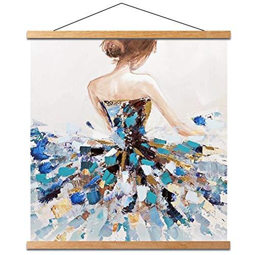 Beliicc Magnet Poster Hanger Frame, Light Wood Wooden Magnetic Canvas Artwork Print Dowel Poster Hangers for 10x14 10x16 10x20 Frames Hanging Kit (Teak Wood, 10')