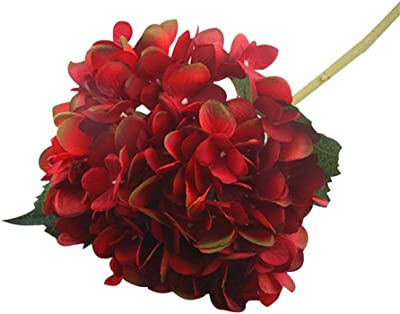 FOONEE Faux Hydrangea Flowers, Artificial/Fake Hydrangea Flowers Fake Silk Bouquet Flower Wedding Arch Flowers,Home Decoration Burgundy