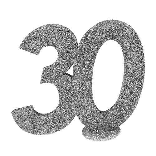 SANTEX 4752-30, Zahlen zum Geburtstag, 30 Jahre, Hochformat, silberfarben