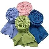 MANSHU 4 PCS Women Soft Chiffon Scarves Shawl Long Scarf Wrap Scarves H Series
