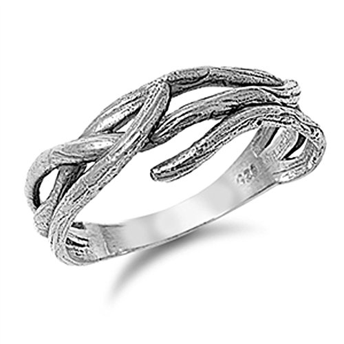 Women's Tree Branch Fashion Wood Ring New .925 Sterling Silver Band Size 7