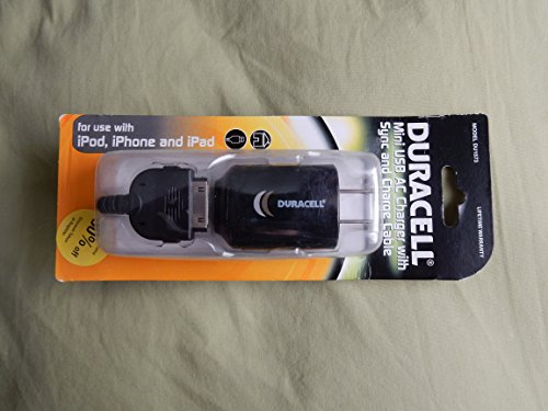 Duracell Mini Usb Ac Charger for Use with Ipad, Ipod, Iphone Devices