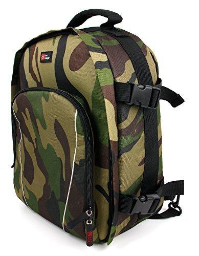 DURAGADGET Sac à Dos pour caméra embarquée/caméscope Tomtom Bandit, Garmin Virb X et XE, Replay XD Prime X - Motifs Camouflage + Compartiments de Rangement
