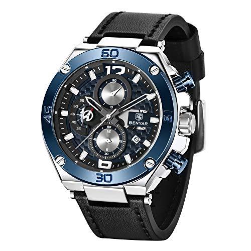 Orologio uomo BY BENYAR Cronografo Analogico Impermeabile Orologi al quarzo di sport con Blue Leather Strap commerciali Orologi da polso per gli uomini