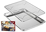 KITCHENATICS Roasting & Baking Sheet with Cooling Rack: Small Quarter Sheet Size Aluminum Cookie Pan...