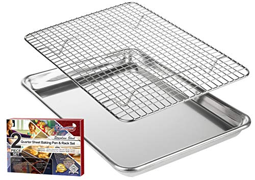 KITCHENATICS Baking Pan and Cooling Rack, Small Quarter Sheet Aluminum Baking Pan and Stainless Steel Rack Set, Roasting Rack Set and Cookie Tray for Oven and Grill, Non-Toxic, 9.6' x 13' x 1'