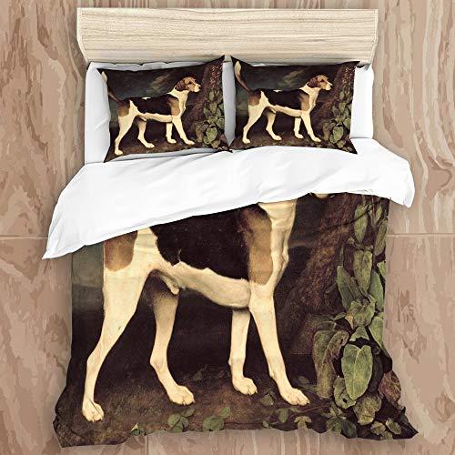 HARXISE Ropa de Cama - Juego de Funda nórdica Mantener Caliente,Perro Mascota Retrato Ringwood Caza Cruel Planta al Aire Libre país rural240 x 260cm