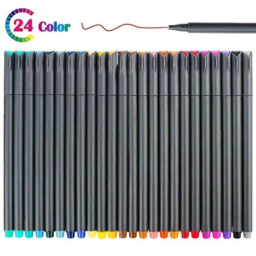 Fineliner Pennarelli a Punta fine 24 colori, Penne Fineliner 0.38mm per Colorare, Diario, Scrittura, Disegno, Forniture per Ufficio e Scuola