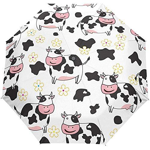 Nette Kuh Blumen Blume Auto Open Umbrella Sun Regen Regenschirm Anti UV Folding Compact Automatic Umbrella