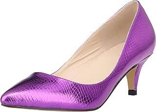 Vimedea Womens Pointed Toe Slip On Comfort Kitten Heel Pumps Wedding Bride OL Dress