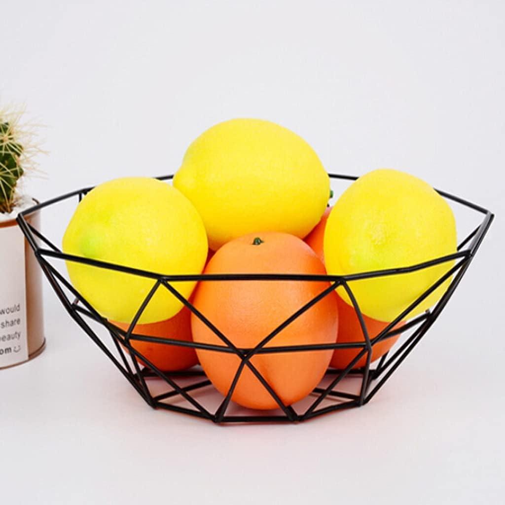 SZVVI Cesta geométrica de alambre de frutas vegetales de metal tazón de almacenamiento de la cocina escritorio exhibición frutas verduras vino bandejas