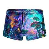 Traje de baño para hombre, diseño psicodélico, colorido, bosques de setas cuadradas, pantalones cortos