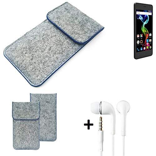 K-S-Trade® Filz Schutz Hülle Für Archos 45d Platinum Schutzhülle Filztasche Pouch Tasche Handyhülle Filzhülle Hellgrau, Blauer Rand + Kopfhörer