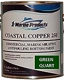 US Marine Products Coastal Copper 250 Ablative Antifouling Bottom Paint Green Quart