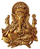 Crafts Metal Ganesh Idol Statue Wall Hanging for Home Decor Wall Decor (Golden, 11 Inches Height)