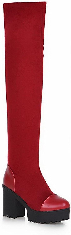 AdeeSu Ladies Chunky Heels Platform Round Toe Imitated Leather Boots