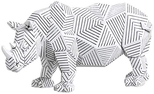 kglkb Escultura Decorativa Salon,Estatua De Modelo De Rinoceronte Escultura De Animal Modelo De Animal Geométrico Decoración De Rayas Escritorio Hogar Arte Abstracto Artesanía