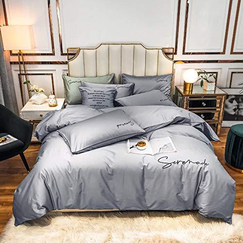 funda de edredón 220x240,Ropa de cama de seda de verano, seda de hielo Set de edredón de seda plana Funda de almohada de bordado individual, adecuado para sala de niños Habitación de dormitorio Apart