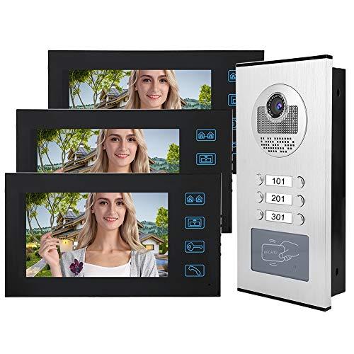 Timbre para videoportero Timbre, Video Intercom Timbre 7in 3 Monitores Tarjeta RFID Video Doorbell Inicio Sistema De Entrada De Puerta con Cámara De Visión Nocturna IR Impermeable 100-240V