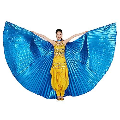 Alas de ISIS, Belle Dance ISIS Wings con Bastones/Varillas telescpicas Disfraz de Belly Dance para Mujer Profesional Alas de ISIS Carnival Costumes (Azul)
