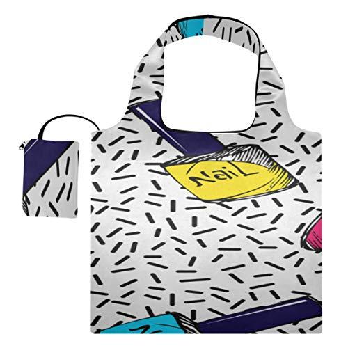 Lebensmittel Einkaufstasche Bunte Kunst Mode Nagellack Einkaufstasche Faltbare Einfache Umhängetasche Polyester Wiederverwendbare Einkaufstaschen, waschbar, langlebig und leicht