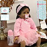Zero Pam 22 inch Black Dolls Smiling Girls Silicone Bebes Reborn African American Dolls Looks Real Handmade Reborn Baby Dolls Biracial Girls with Pacifier