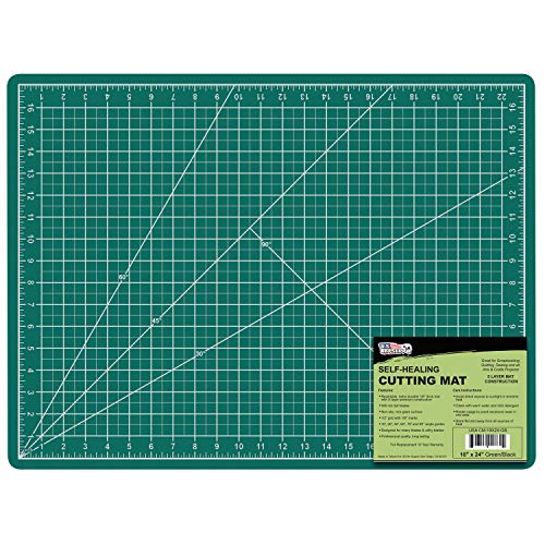 US Art Supply 18 x 24 Green/Black Professional Self Healing 5-Ply Double Sided Durable Non-Slip PVC Cutting Mat Great for Scrapbooking, Quilting, Sewing and All Arts & Crafts Projects
