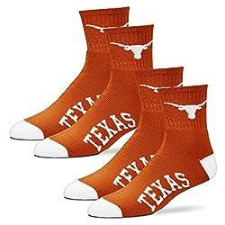 For Bare Feet Men's Quarter Socks-Texas Longhorns-Large-Burnt Orange-2 Pack