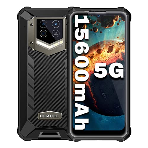 Smartphone 5G Incassable,OUKITEL WP15 Téléphone Portable Antichoc Étanche 5G,Batterie 15600mAh,8Go 128Go (SD 256),Triple caméra Sony 48MP, 6.52 Pouces,Double SIM Android 11,Octa-Core,IP68/NFC/OTG-Noir