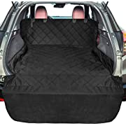 F-color SUV Cargo Liner for Dogs, Upgraded Extra Large Waterproof Pet Cargo Cover Dog Seat Cover Mat for SUVs Sedans Vans with Bumper Flap Protector, Non-Slip, Wear-Proof, Universal Fit, Black