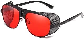 Flowertree Men's SJR-A19 Flat Top Mesh Side Shield Metal Aviator Sunglasses