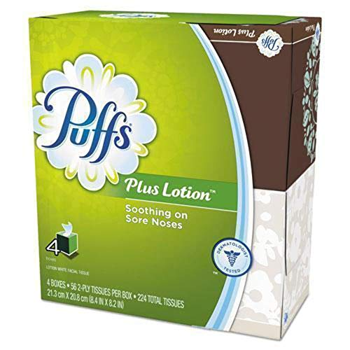 Puffs Plus Lotion Facial Tissues, Cube, 4 boxes (56 count each)