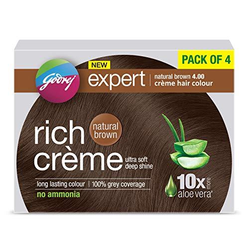 Godrej Expert Rich Creme Hair Colour (Shade 4.00, NATURAL BROWN), Pack of 4