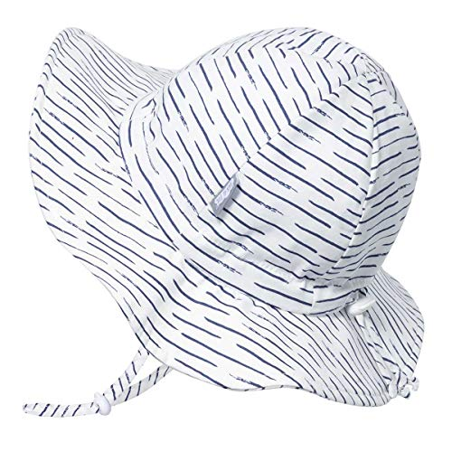 JAN & JUL GRO-with-Me Cotton Sun-Hat for Baby Toddler (M: 6-24 Months, White Waves)