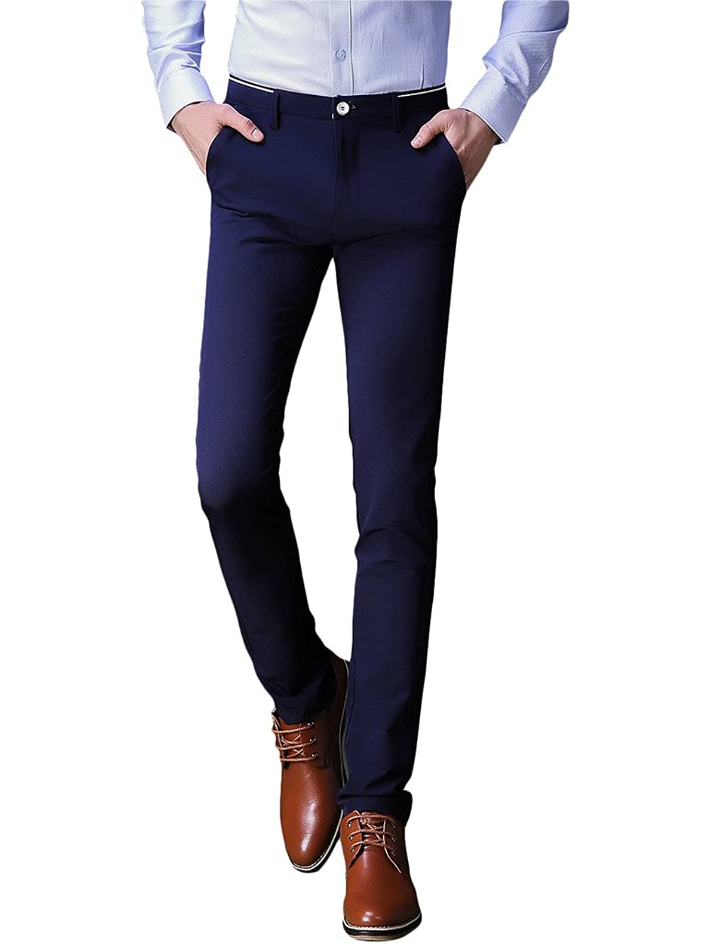 INFLATION Mens Wrinkle-Free Slim-Tapered Stretch Casual Pants,Flat Front Suit Pants
