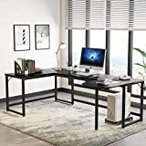 Tribesigns U Shaped Desk, Large L-Shaped Desk Corner Computer Office Desk Writing Table with Printer Stand, 78.7 x 47.2 inch Executive Workstation Desk for Home Office (Black)