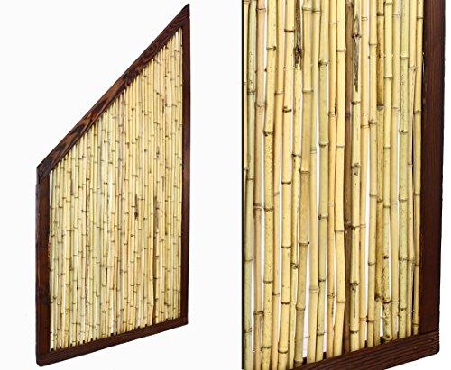 bambus-discount.com Bambus Abschlusselement KohSamui Klassik 180/90x90cm, dunkler Rahmen mit Bambusrohr Füllung B-Ware Sichtschutzwand Sichtschutzelement Sichtschutz