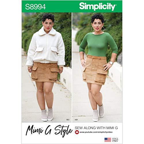 Simplicity US8994U5 S8994 Schnittmuster für Damenjacke, Rock und Strickoberteil im Mimi-G-Stil, Papier, weiß, Verschiedene Größen, 3 Pack