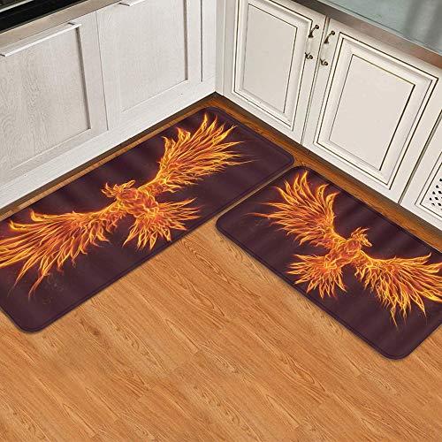 2 Stück Küchenteppich-Sets,Feuervogel Tier brennendes Feuer Phönix Wiede,rutschfeste waschbare weiche Matte für Küchentür Badezimmer