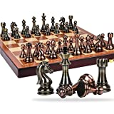 HJSP Viajes Damas de ajedrez de Metal de Bronce y latón Piezas de ajedrez Ajedrez Plegable de Madera sólida del Juego de Mesa de ajedrez Conjunto