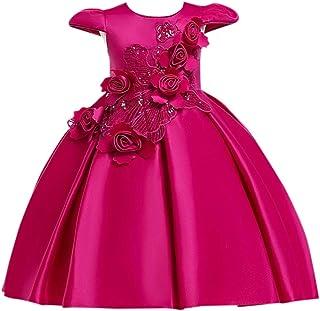 Hopscotch Girls Poly Viscose Beautiful Fushsia Cap Sleeve Floral Applique Dress in Fuchsia Color