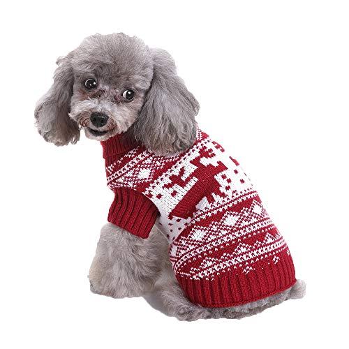 CHIYEEE Weihnachtspullover für Hunde und Katzen Weihnachten Hundepullover Warm Hundepulli Winter Strickpullover Sweater Mantel XL
