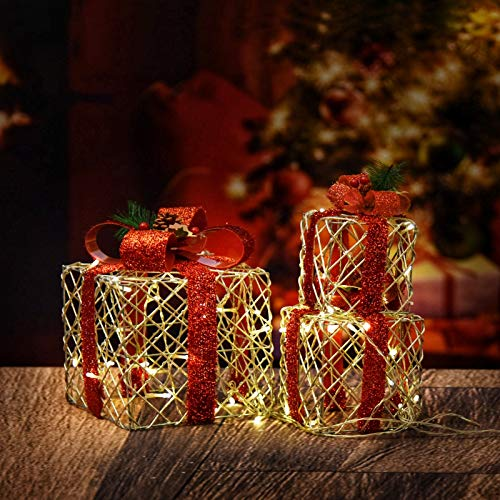 Set of 3 Christmas Lighted Gift Boxes, 48LED Light Up Gift Boxes Waterproof for Indoor Outdoor Christmas Tree Party Decor (Snowflake)