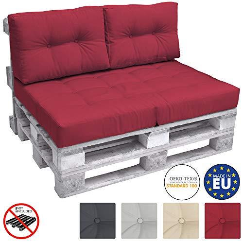 Beautissu Palettenkissen Premium Rückenkissen ECO Elements 2-TLG Palettenpolster Kissen Europalette 120x40x10-20cm Rot