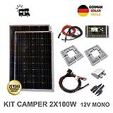 VIASOLAR Kit 200W Camper 12V Panel Solar 2X100W monocristalino célsdfsdfsdfulas alemanas