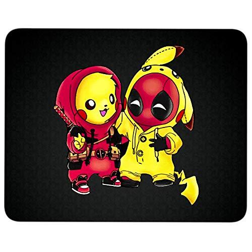 Pikachu Deadpool anti-slip rubberen voet muismat voor laptop, computer en pc, Funnt Pokemon muismat 9.25