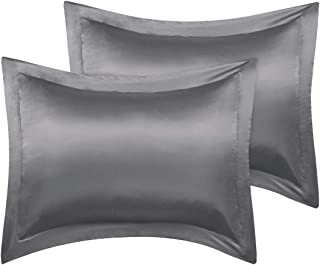 PiccoCasa King Pillow Shams, Set of 2, 20x36inch Satin Pillowcase for Hair and Skin, Silky Oxford Pillow Cases Covers with Envelope Closure, Deep Grey