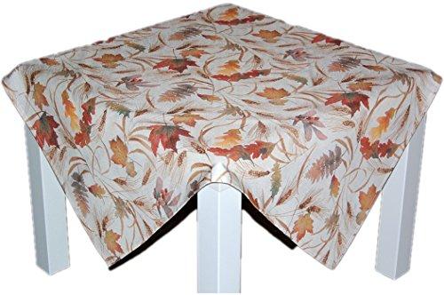 Klassische Tischdecke 85x85 cm eckig Mitteldecke pflegeleicht bügelfrei preiswert Creme BLäTTER farbig Deko Herbst (Mitteldecke 85x85 cm)