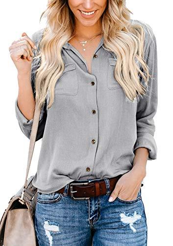 Ehpow Damen Bluse Langarm V-Ausschnitt Bluse Einfarbig Casual Button Down Oberteile Blusen Shirts (Large, Y-grau)
